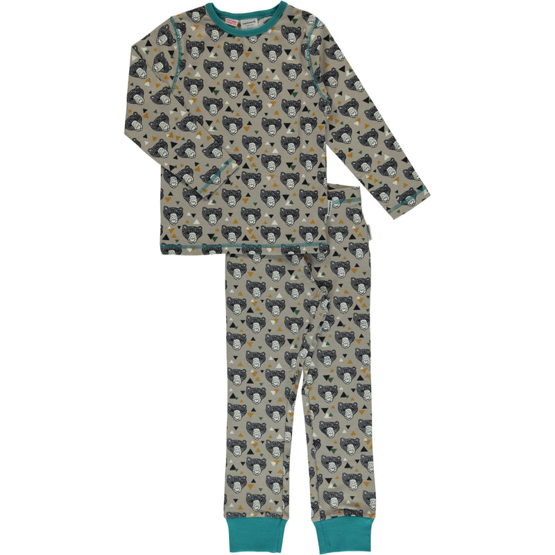 Maxomorra Grizzly Bear Print Long Sleeve Pyjamas Set