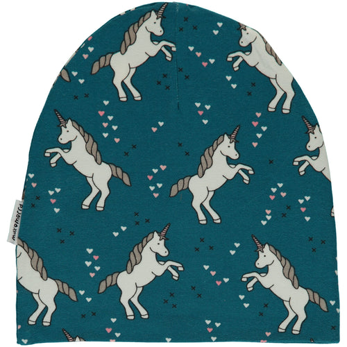 Maxomorra Unicorn Dreams Print Organic Cotton Beanie Hat