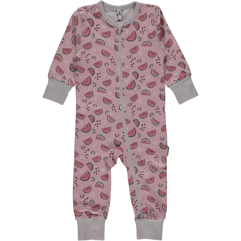 Maxomorra Watermelon Love Print Zip Romper/Sleepsuit