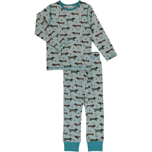 Maxomorra Dotted Puppy Print Long Sleeve Pyjamas Set