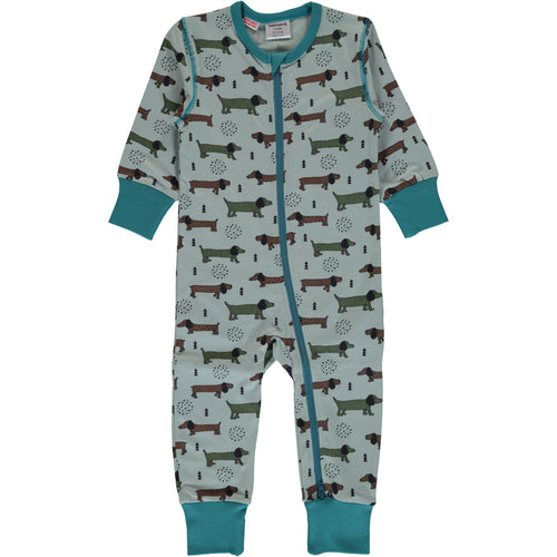 Maxomorra Dotted Puppy Print Zipper Sleepsuit/Romper