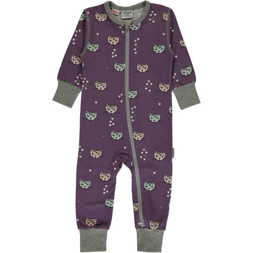 Maxomorra Kitty Cat Print Zipper Sleepsuit/Romper