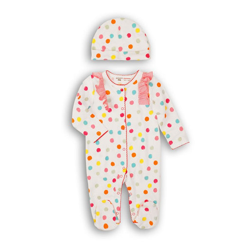 Spotty Print Cotton Babygrow & Hat Set