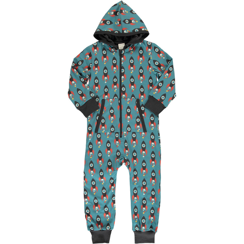 Maxomorra Moon Rocket Print Hooded Onesie