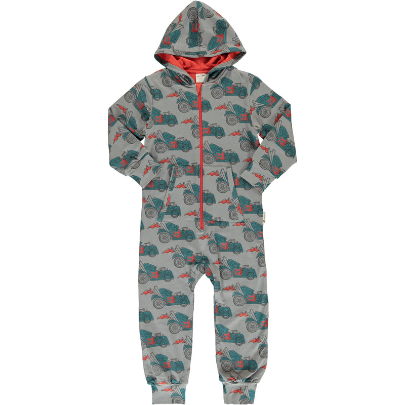 Maxomorra Hot Rod Print Hooded Onesie