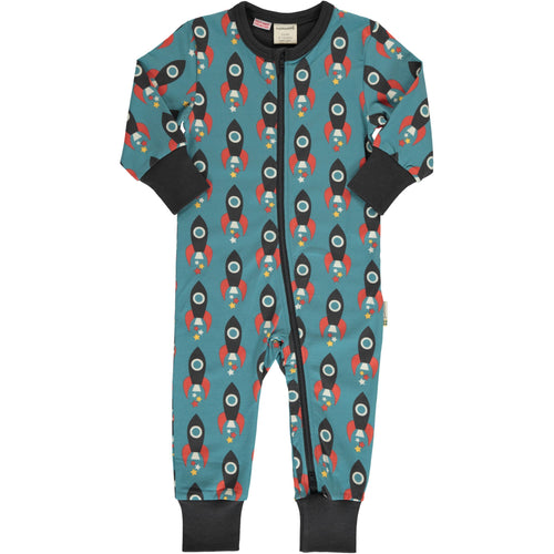 Maxomorra Moon Rocket Print Long Sleeve Zip Rompersuit