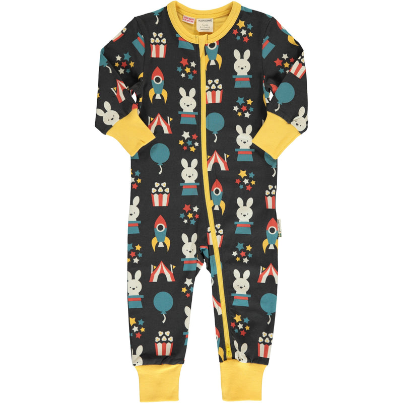 Maxomorra Moon Fun Park Print Long Sleeve Zip Rompersuit