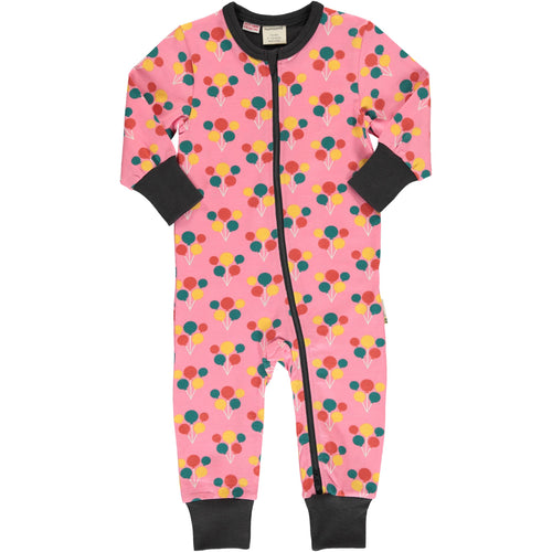 Maxomorra Balloon Party Print Long Sleeve Zip Rompersuit