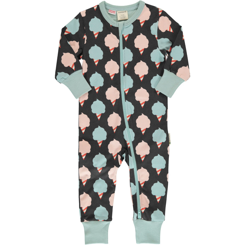 Maxomorra Sweet Cotton Candy Print Long Sleeve Zip Rompersuit