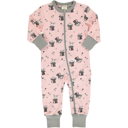 Maxomorra Magic Rabbit Print Long Sleeve Zip Rompersuit