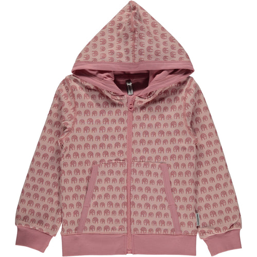 Maxomorra Pink Elephants Print Hoody  Cardigan Hood Elephants babygrow.ie