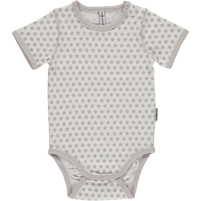 Maxomorra Grey Star Print Short Sleeve Bodysuit