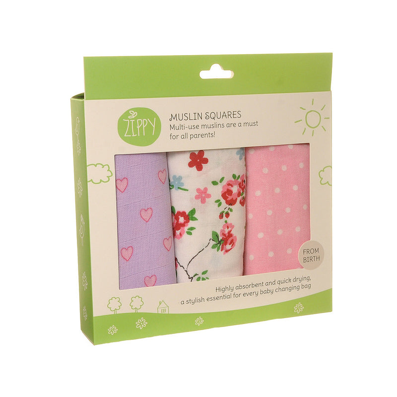 Muslin Squares for baby girls - Pink muslin cloths