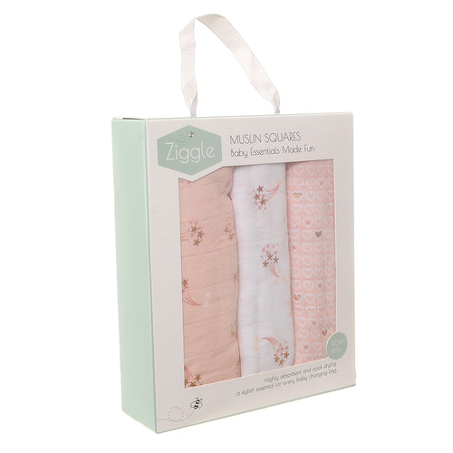 Ziggle Baby Muslin Squares 3 Pack - Rose Gold