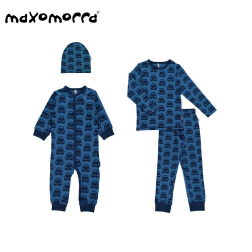 Maxomorra Organic Blue Cars Romper Gift Set