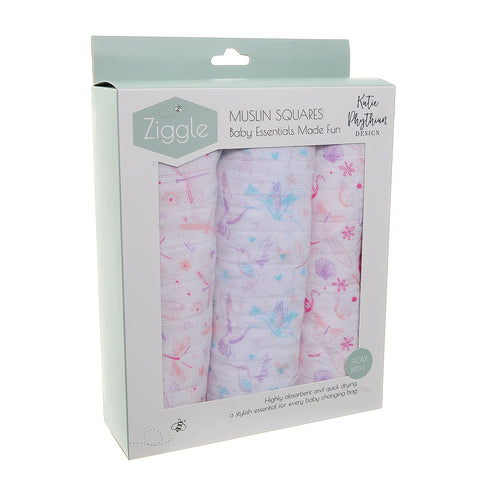 Ziggle Baby Muslin Squares 3 Pack Katie Python Design