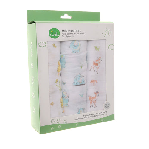 Zippy Baby Muslin Squares 3 Pack Cute Animals
