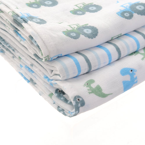 Ziggle Baby Muslin Squares 3 pack Blues