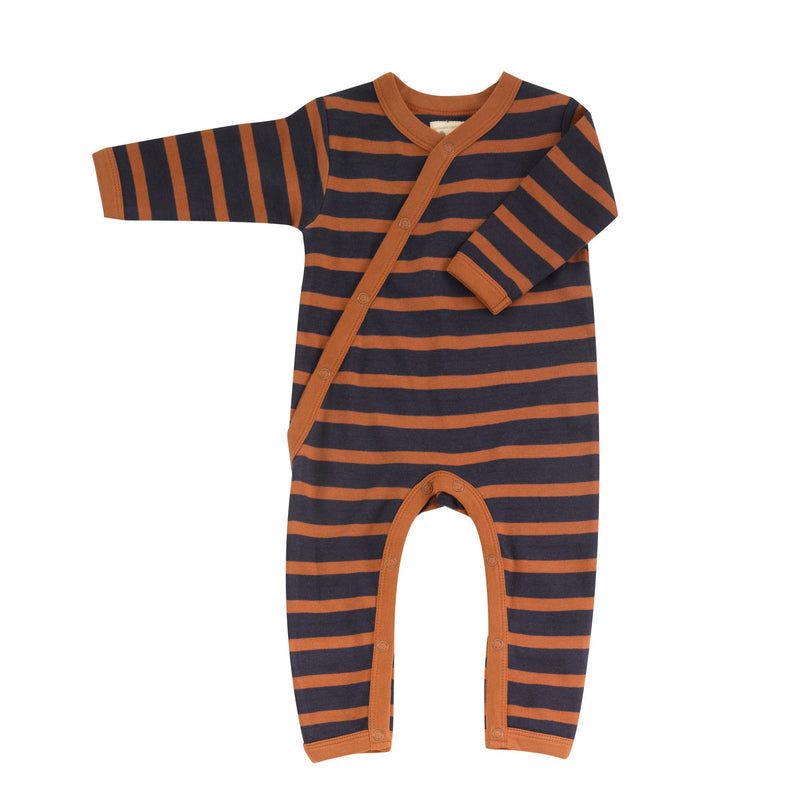 Organic Cotton Navy Rust Stripe Romper
