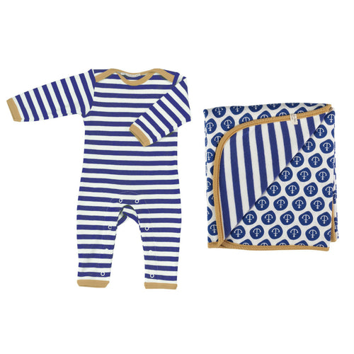 Organic Gift Set Nav Stripe - Perfect gift for new baby
