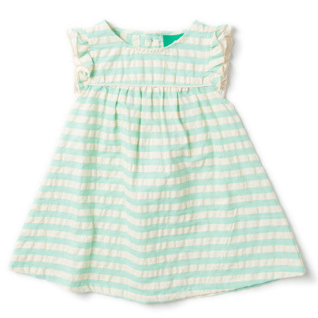Organic Cotton Pale Turquoise Stripe Frill Dress