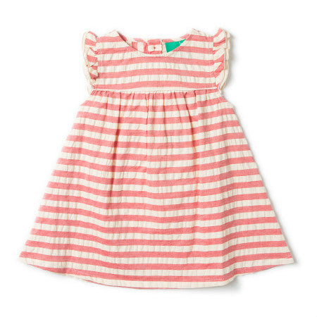 Organic Cotton Red Stripe Frill Dress