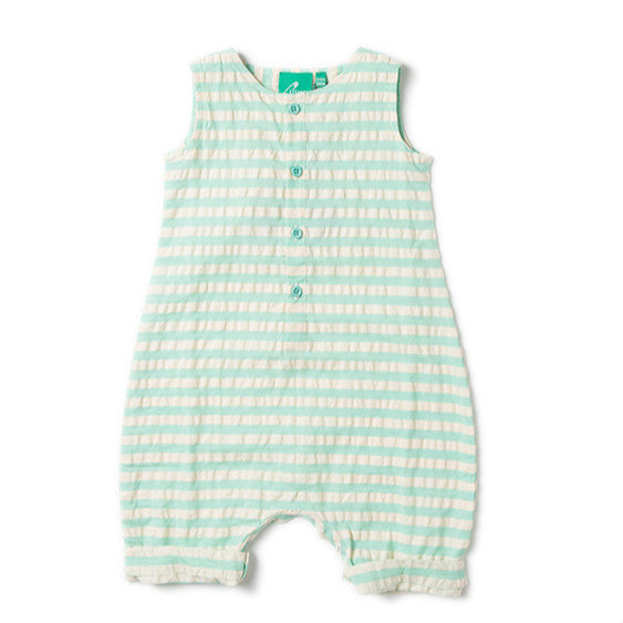 Pale Turquoise Striped Seersuker Organic Playsuit