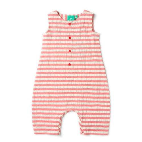 Red Stripe Seersuker Organic Playsuit