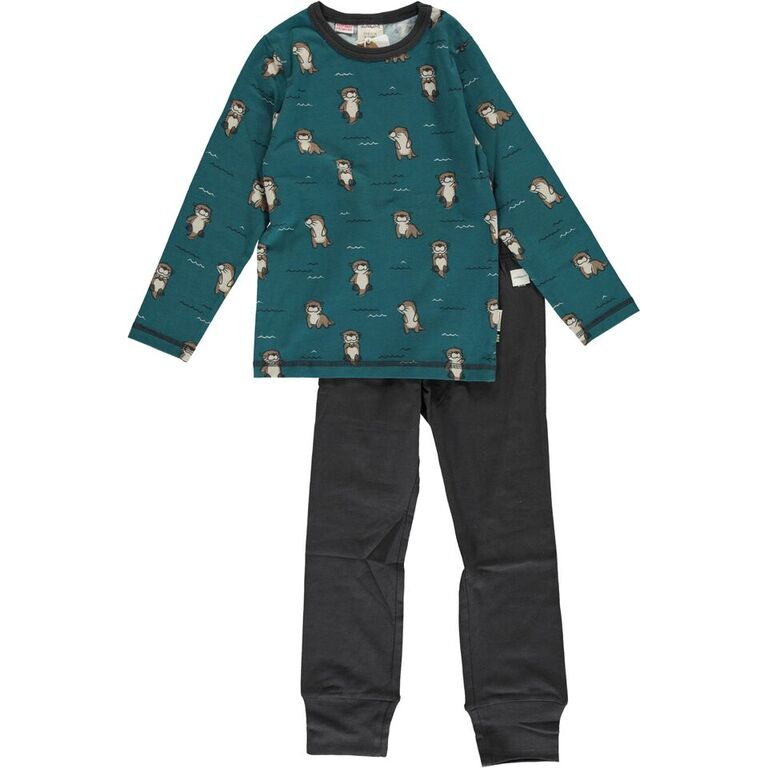 Maxomorra Curious Otter Print Long Sleeve Pyjamas
