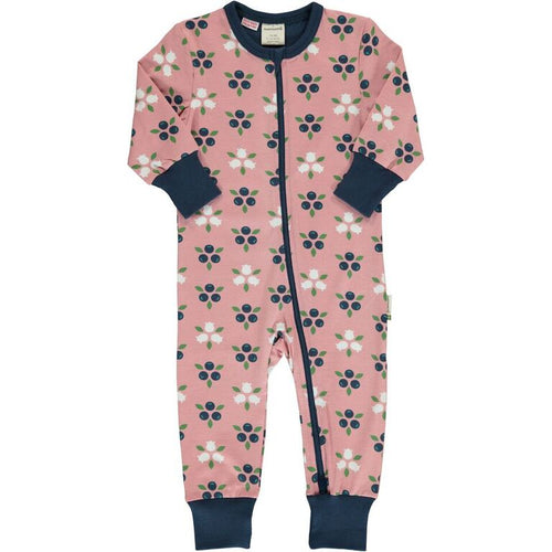 Maxomorra Blueberry Blossom Print Long Sleeve Zip Rompersuit
