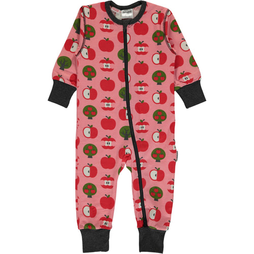 Maxomorra Apple print Zipper Romper Sleepsuit