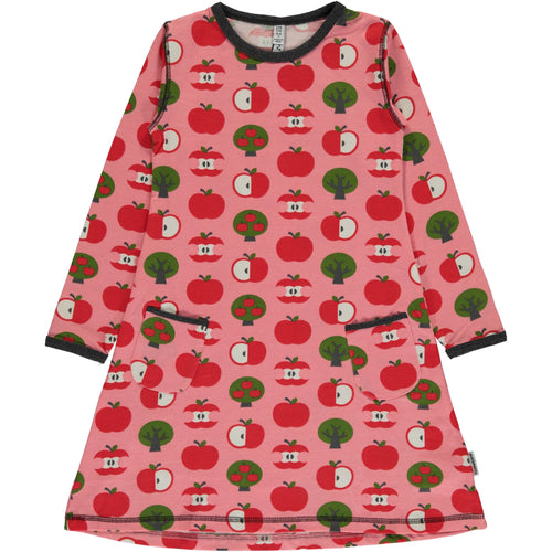 Maxomorra Apple Print Long Sleeve Dress