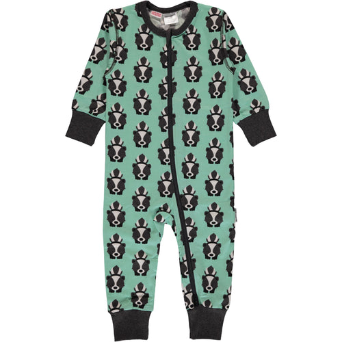 Maxomorra Skunk Print Zipper Romper Sleepsuit