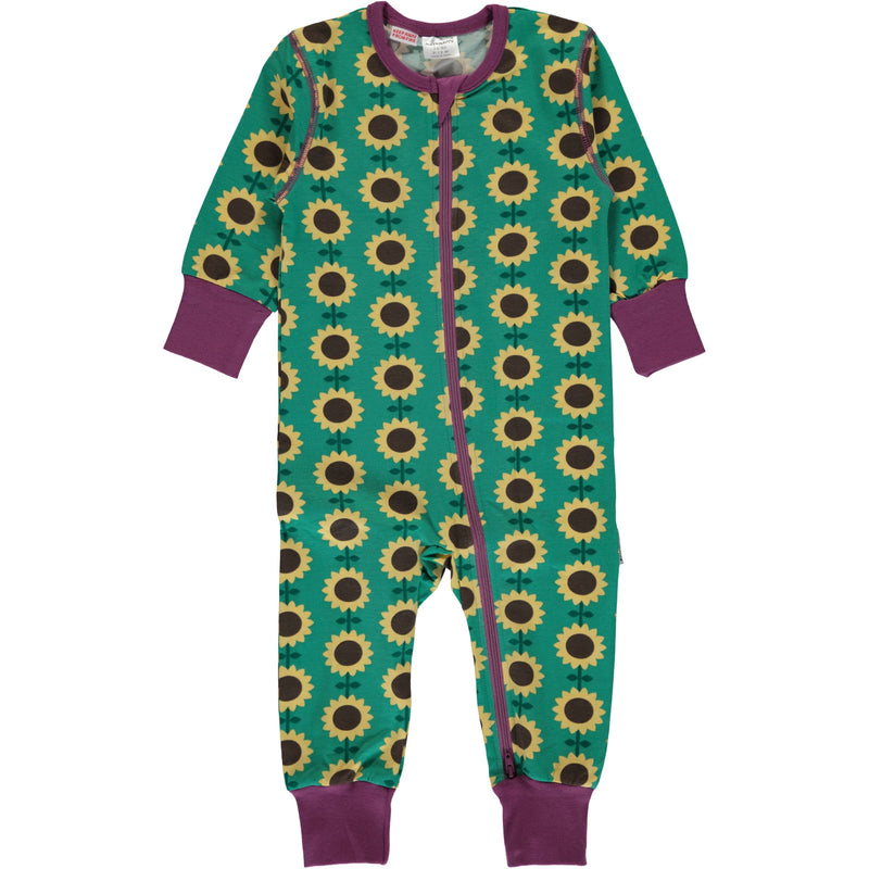 Maxomorra Sunflower Zipper Romper Sleepsuit