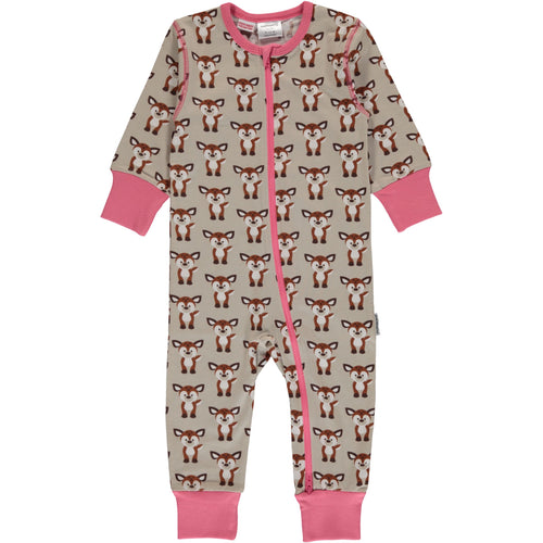Long Sleeve Maxomorra Fawn Print Zipper Sleepsuit/Romper.