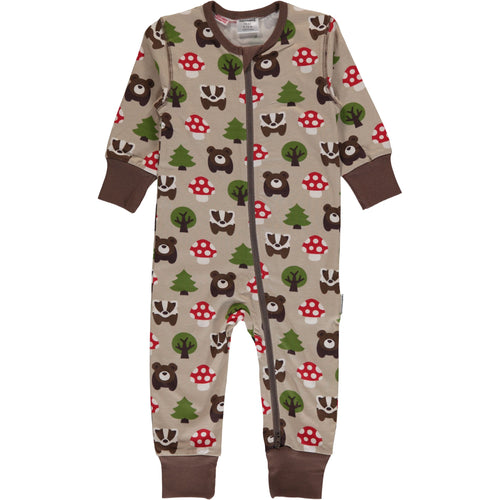 Maxomorra Forest Print Zipper Sleepsuit/Romper