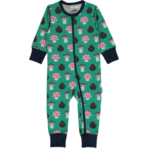 Long Sleeve Maxomorra Mushroom Print Zipper Sleepsuit/Romper.