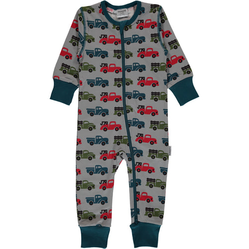 Long Sleeve Maxomorra Truck Print Zipper Sleepsuit/Romper