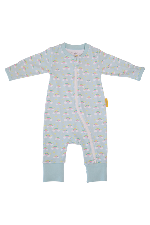 BABYBOO Painted Rainbows Organic Cotton ZIPPYBOO Sleepsuit