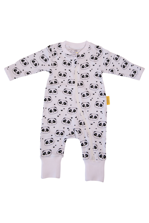 BABYBOO Panda Love Organic Cotton ZIPPYBOO Sleepsuit