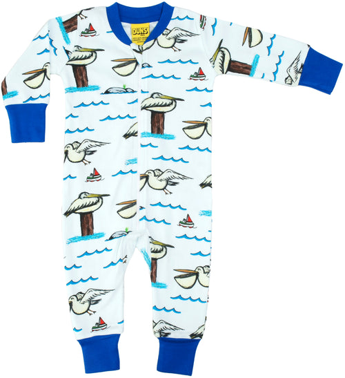 Pelican and Boat at Sea Organic Cotton Zip Sleepsuit