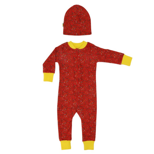 Organic Cotton Pencil Print Red Zip Sleepsuit & Beanie Gift Set