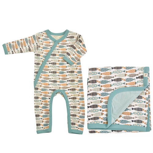 Organic Cotton Romper & Blanket Gift Set - Turquoise Fish
