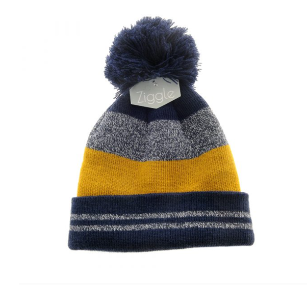Navy, Yellow and Grey Knit Bobble Hat