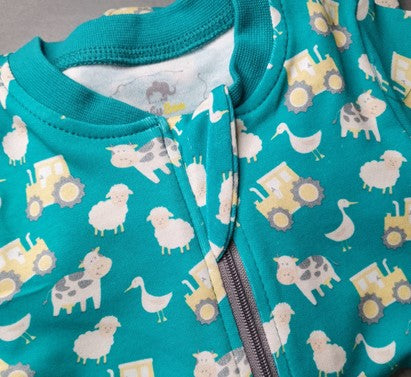 Jade Farmyard Print ZIPPYBOO Suit With Tractors, Cows, Sheep & Ducks on this fab zip sleepsuit