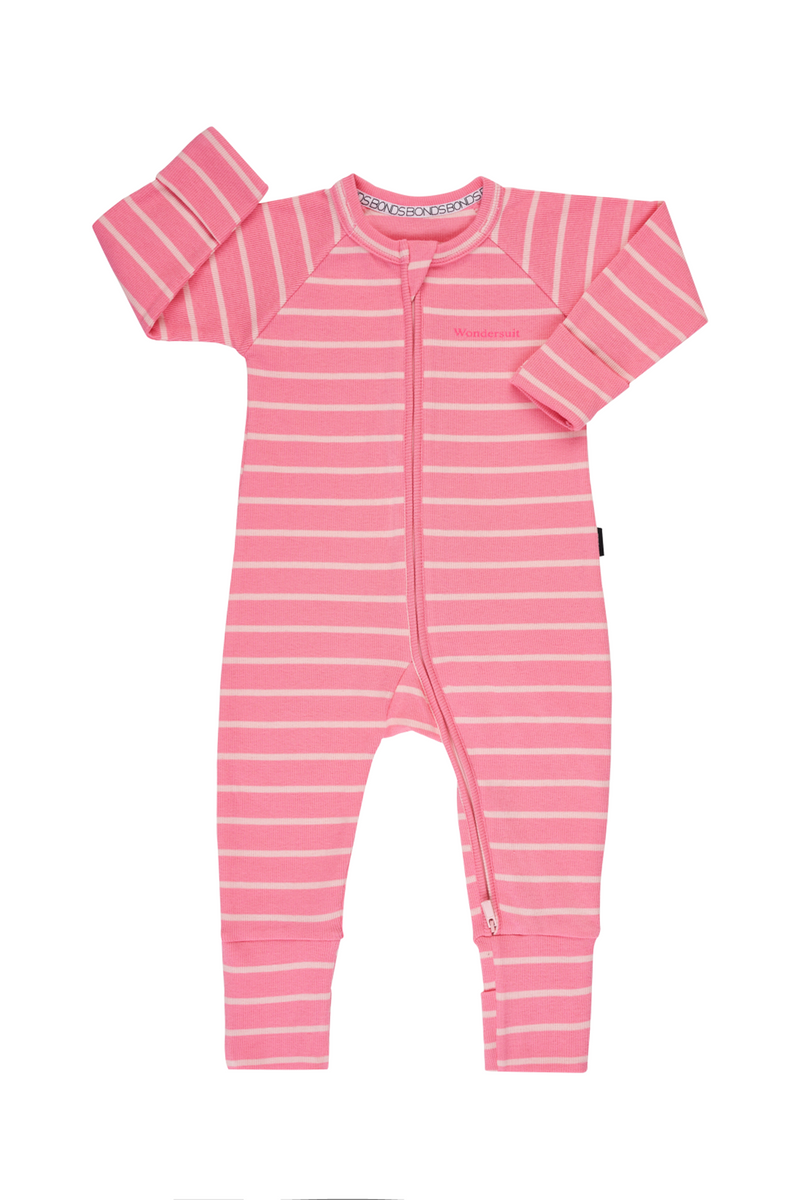 Bonds Rib Wondersuit - Camellia & Sparkling Stripe