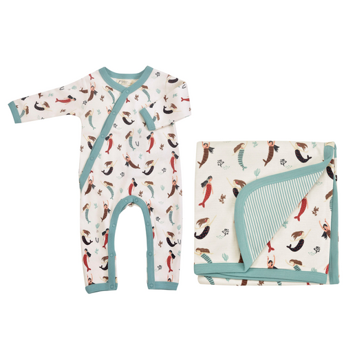 Mermaid Romper & Blanket Gift Set - Organic Cotton