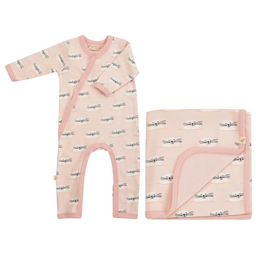 Pink Romper & Blanket Gift Set - Baby Seal - Organic Cotton