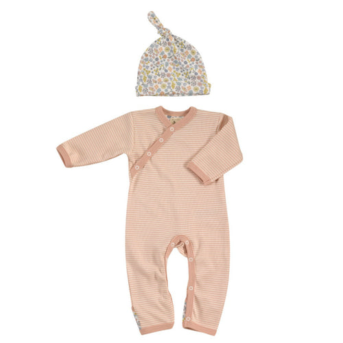 Country Garden Pink Striped Romper & Floral Hat Organic Gift Set for Girls