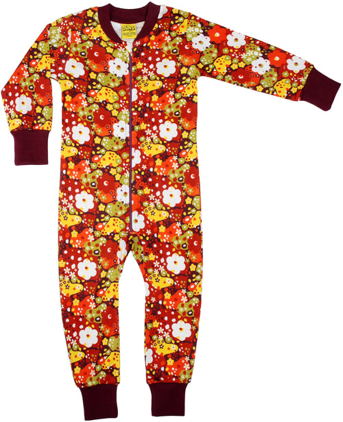 DUNS Organic Red Pompien Flower Zip Sleepsuit Babygrow Autumnal zip sleepsuit